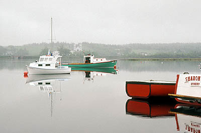 Nova Scotia, Cape Breton Island; Boats in fog, on the section of Bras d'Or Lake known as St. Andrews Channel. [ref. to #152.002]