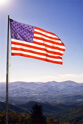 Brasstown Bald. American flag flying over the Blue Ridge, on the highest point in Georgia. Location: GA, Union County, Chattahoochee National Forest. [ref. to #214.052]