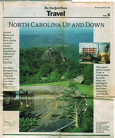 North Carolina: Northern Mountains Region, Avery County, Linville Area, Grandfather Mountain Park, New York Times Travel Section cover for Apr 26, 1998; photo of the road up Grandfather Mountain. [Ask for #990.139.]